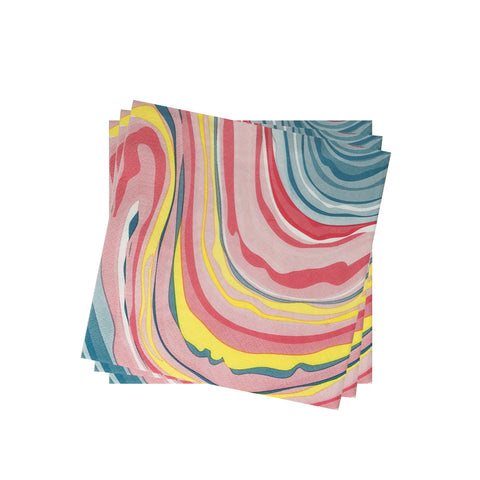 Lightweight Napkin in Colorful Marble | Pack of 10
