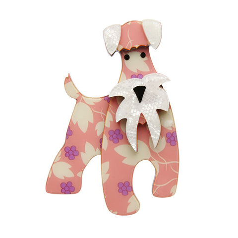 The Schnauzer and Klaus (Erstwilder Pink Resin Dog Brooch) - Glitterally.co.uk