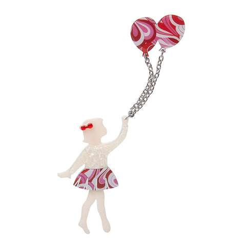 BEV AND THE FLYING BALLOON BROOCH (Erstwilder resin brooch) - Glitterally.co.uk