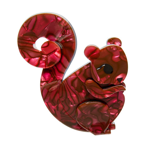 Saskia Squirrel (Erstwilder Burgundy Resin Squirrel Brooch) - Glitterally.co.uk