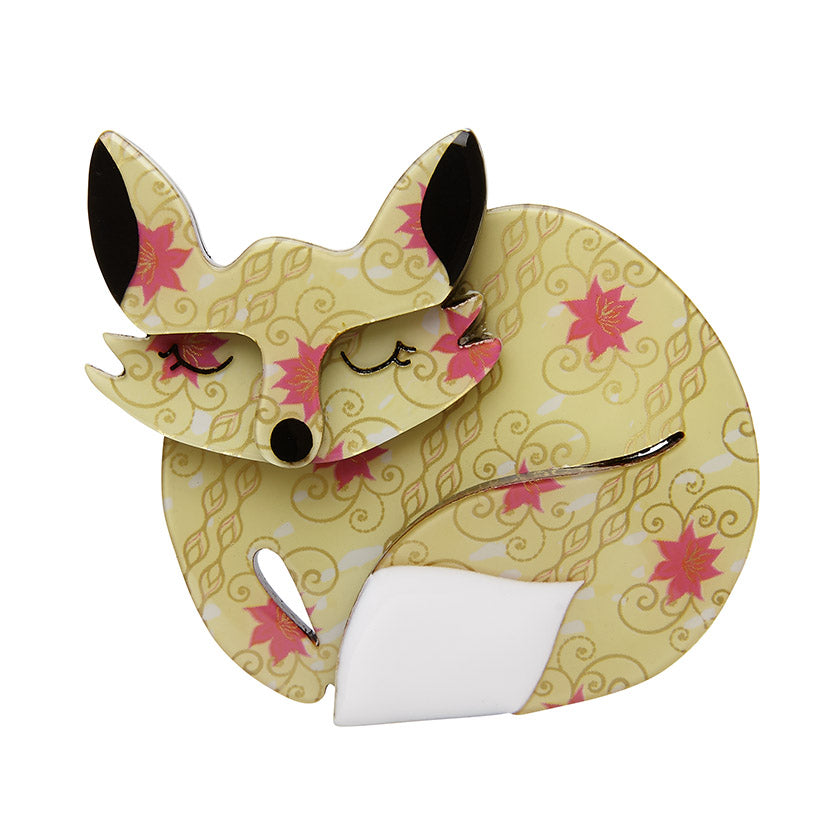 Sacha Sleeping Fox (Erstwilder Resin Brooch) - Glitterally.co.uk