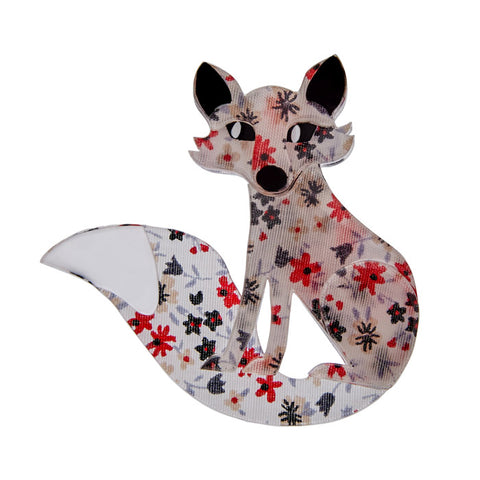 Frond Fox (Erstwilder Pink Resin Fox Brooch) - Glitterally.co.uk