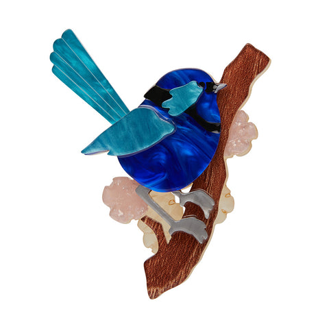 PHOEBE THE FAIRY WREN (Erstwilder Resin Wren Brooch) - Glitterally.co.uk