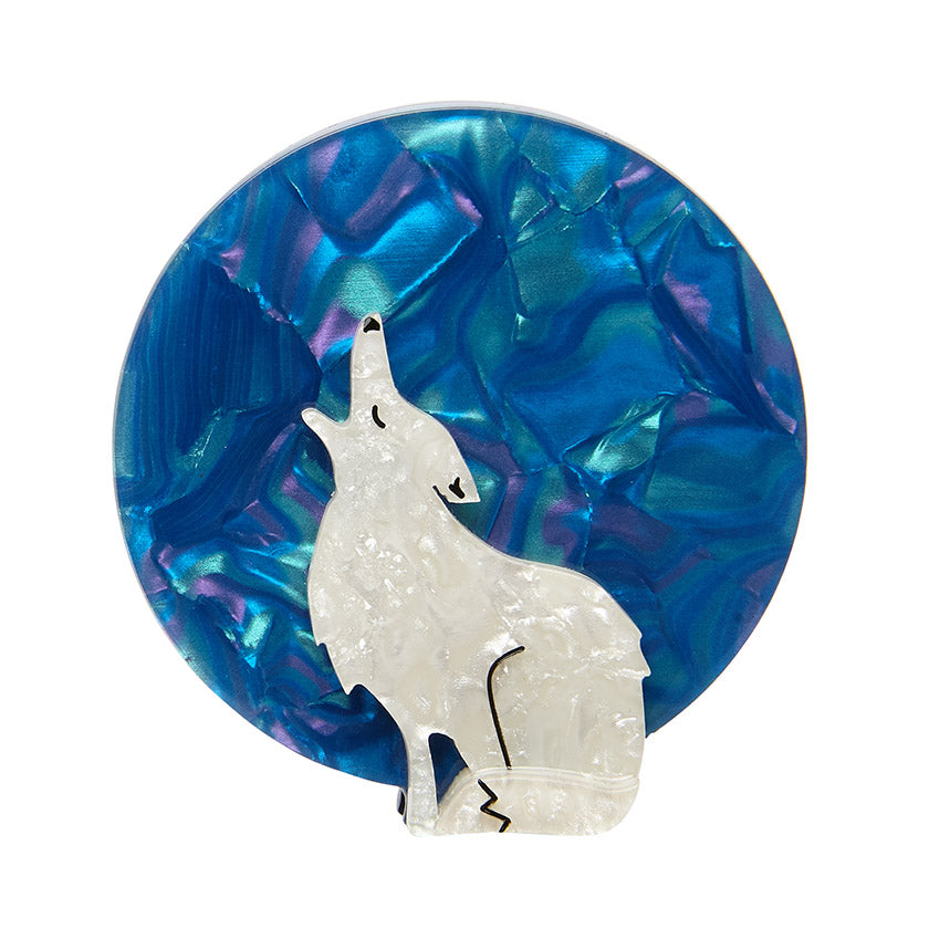HOWLING AT THE MOON BROOCH (Erstwilder resin brooch) - Glitterally.co.uk