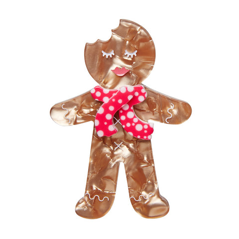 Ginger the Christmas Cookie (Erstwilder Brown Resin Gingerbread Man Brooch) - Glitterally.co.uk