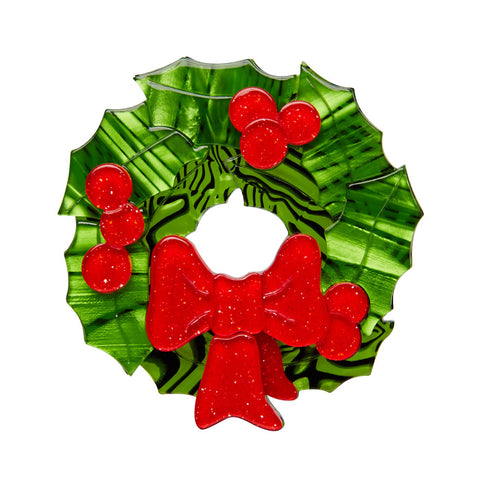 Deck the Halls (Erstwilder Green Resin Christmas Wreath Brooch) - Glitterally.co.uk