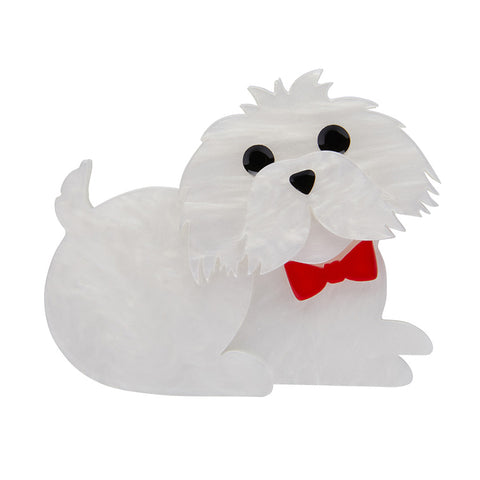 Marc the Maltese Brooch (Erstwilder Resin Dog Brooch) - Glitterally.co.uk