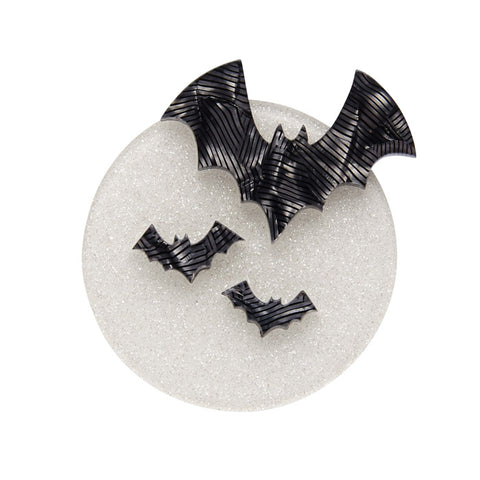 All Hallows' Eve  (Erstwilder White Resin Bats Brooch) - Glitterally.co.uk
