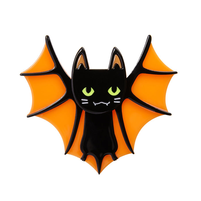 Bat Cat (Erstwilder Orange and Black Resin Bat Cat Brooch) - Glitterally.co.uk