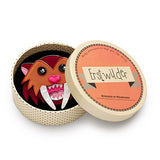 Smilodon Smiles (Erstwilder Brown Resin Smilodon Brooch) - Glitterally.co.uk