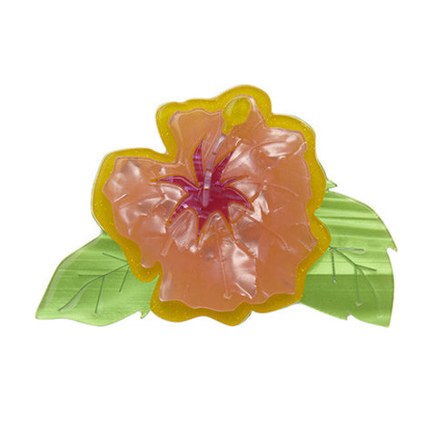 Alohabiscus (Erstwilder Green and Orange Resin Hibiscus Brooch) - Glitterally.co.uk