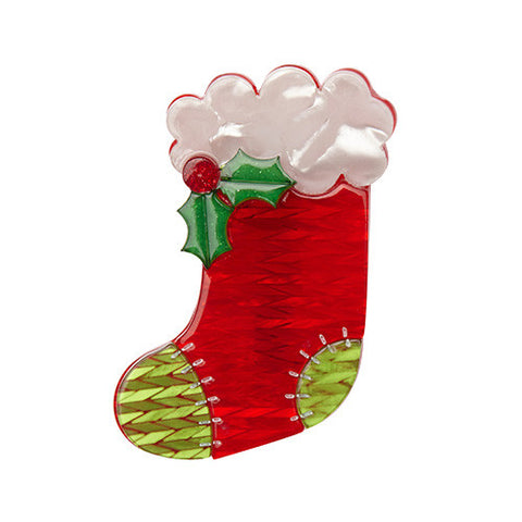 Get Stuffed (Erstwilder Red Christmas Stocking Resin Brooch) - Glitterally.co.uk