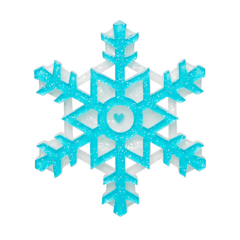Seasonal Symmetry (Erstwilder Blue and White Resin Snowflake Brooch) - Glitterally.co.uk