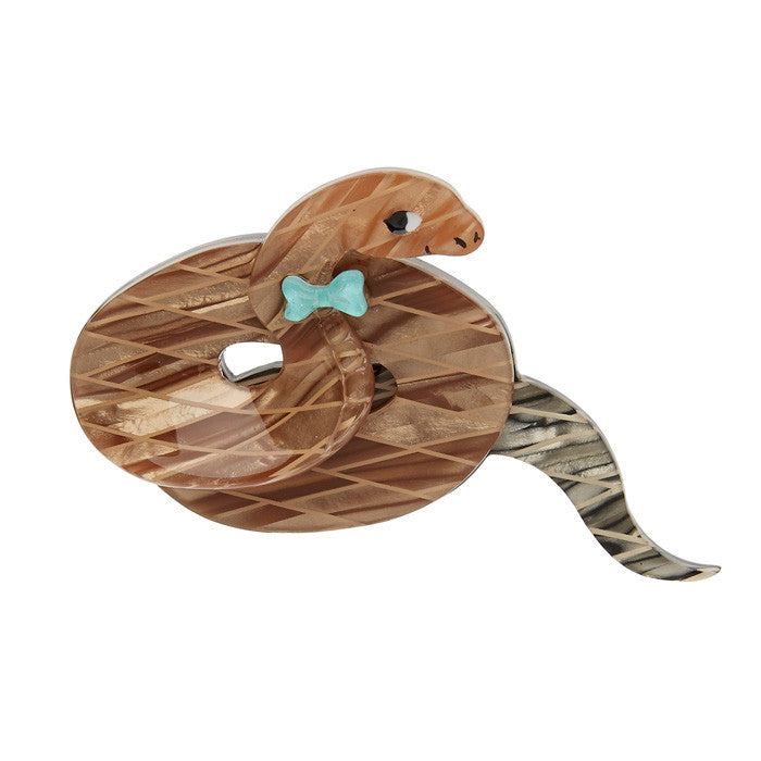 Theodore the Trim Taipan (Erstwilder Brown Resin Snake brooch) - Glitterally.co.uk