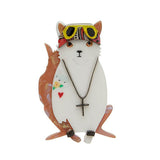 Paradise City (Erstwilder White Resin Cat Brooch) - Glitterally.co.uk