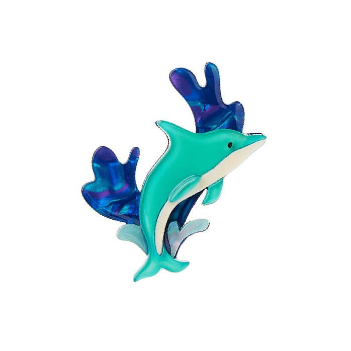 Echo Of the Ocean (Erstwilder Teal Resin Dolphin Brooch) - Glitterally.co.uk