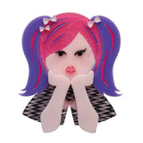 Bubblegum Pop Princess (Erstwilder Purple Resin Girl Brooch) - Glitterally.co.uk