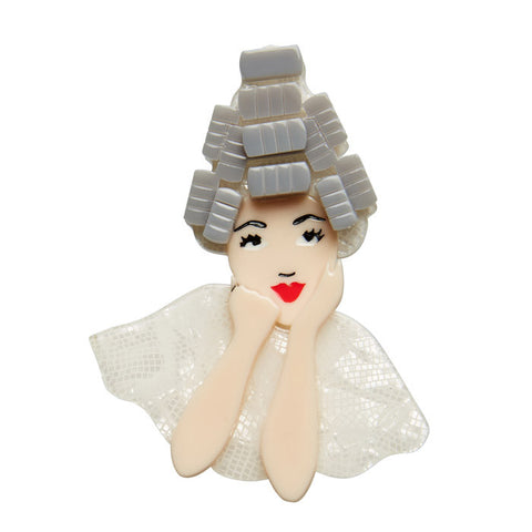 Beauty School Dropout (Erstwilder Ivory Resin Girl Brooch) - Glitterally.co.uk