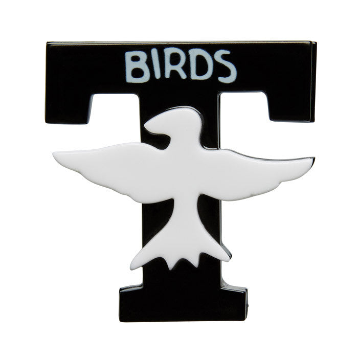 T-Birds (Erstwilder Black and White Resin Brooch) - Glitterally.co.uk