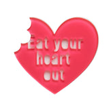 Eat Your Heart Out (Erstwilder Pink Resin Heart Brooch) - Glitterally.co.uk