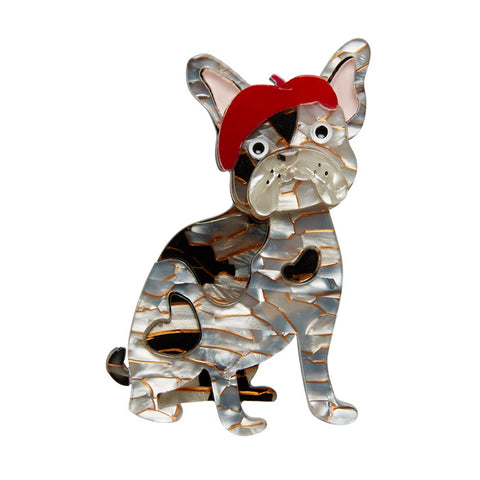 Claude the Chic (Erstwilder Grey Resin Dog Brooch) - Glitterally.co.uk