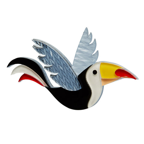 Conrad Cool Beak (Erstwilder Black Resin Bird Brooch) - Glitterally.co.uk