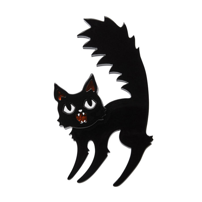 Catastrophic Fright (Erstwilder Black Resin Cat Brooch) - Glitterally.co.uk