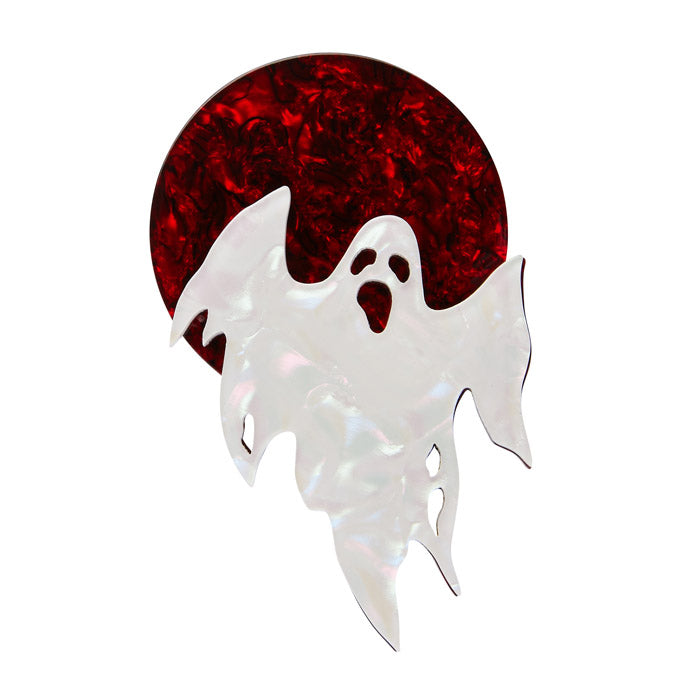 Ghostly Gary  (Erstwilder Red and White Resin Ghost Brooch) - Glitterally.co.uk