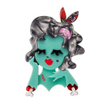 Drop Dead Gorgeous  (Erstwilder Green Resin Zombie Girl Brooch) - Glitterally.co.uk