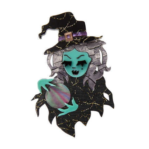 Not So Wicked (Erstwilder Green Resin Witch Brooch) - Glitterally.co.uk