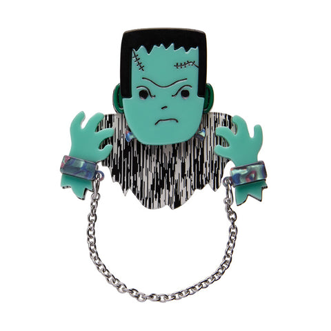 A Boy Named Boris (Erstwilder Green Resin Zombie Boy Brooch) - Glitterally.co.uk