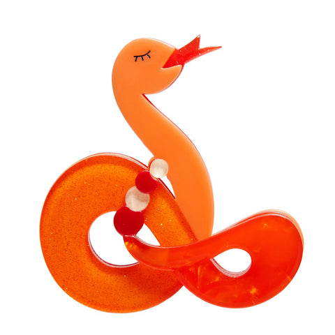 Jake The Snake (Erstwilder Orange Brooch) - Glitterally.co.uk