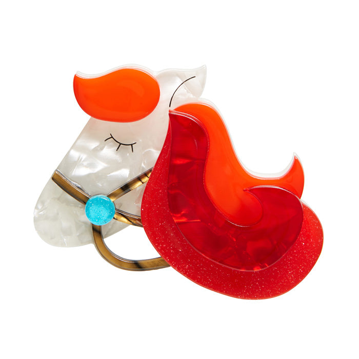 His Girl Friday (Erstwilder Orange and White Brooch) - Glitterally.co.uk