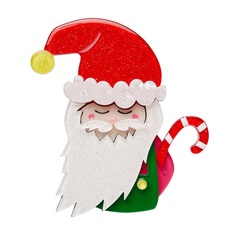 Saint Nick (Erstwilder Red Resin Santa Brooch) - Glitterally.co.uk