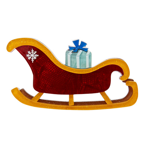JINGLE BELLS BROOCH (Erstwilder Resin Sleigh Brooch) - Glitterally.co.uk