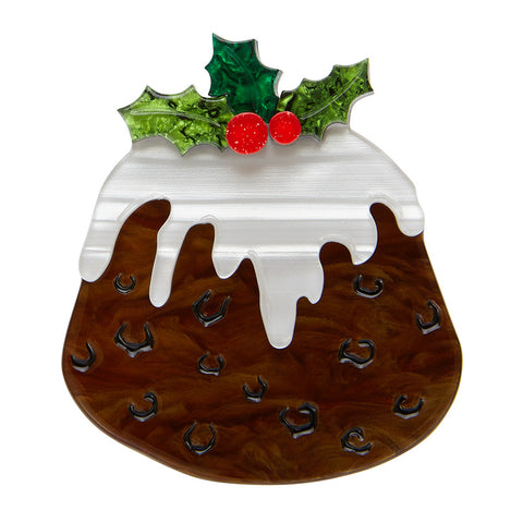 TREACLE TREAT BROOCH (Erstwilder Resin Christmas Pudding Brooch) - Glitterally.co.uk