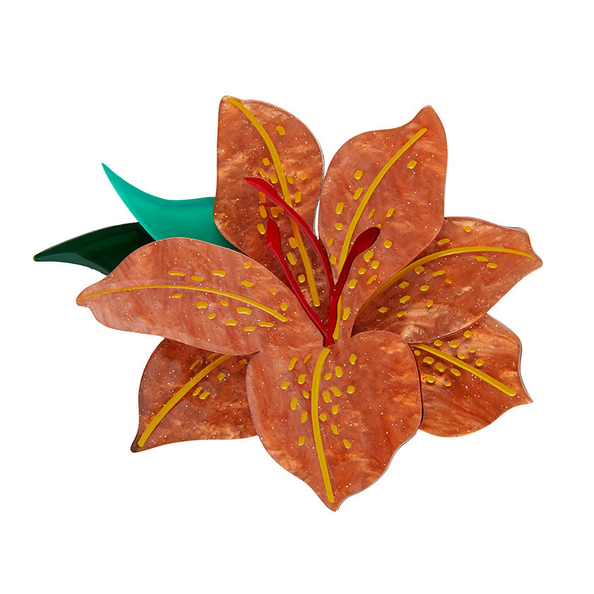 Frilly Lily Frond (Erstwilder Resin Lily Brooch) - Glitterally.co.uk