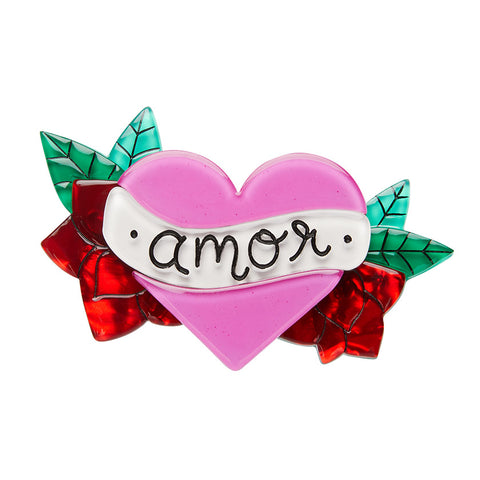 Amor Brooch (Erstwilder Resin heart-shaped brooch) - Glitterally.co.uk
