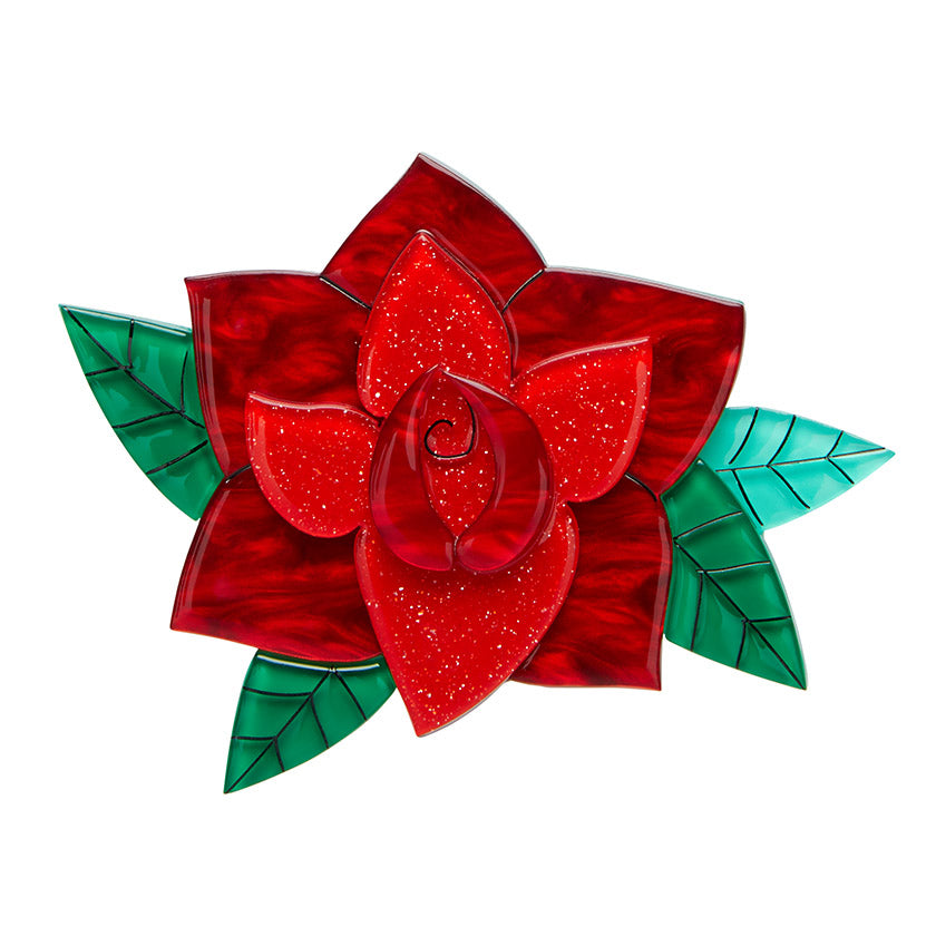 Rosa Espanola Brooch (Erstwilder Resin red rose brooch) - Glitterally.co.uk