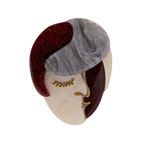 VOGUE VISAGE BROOCH (Erstwilder Resin Brooch) - Glitterally.co.uk