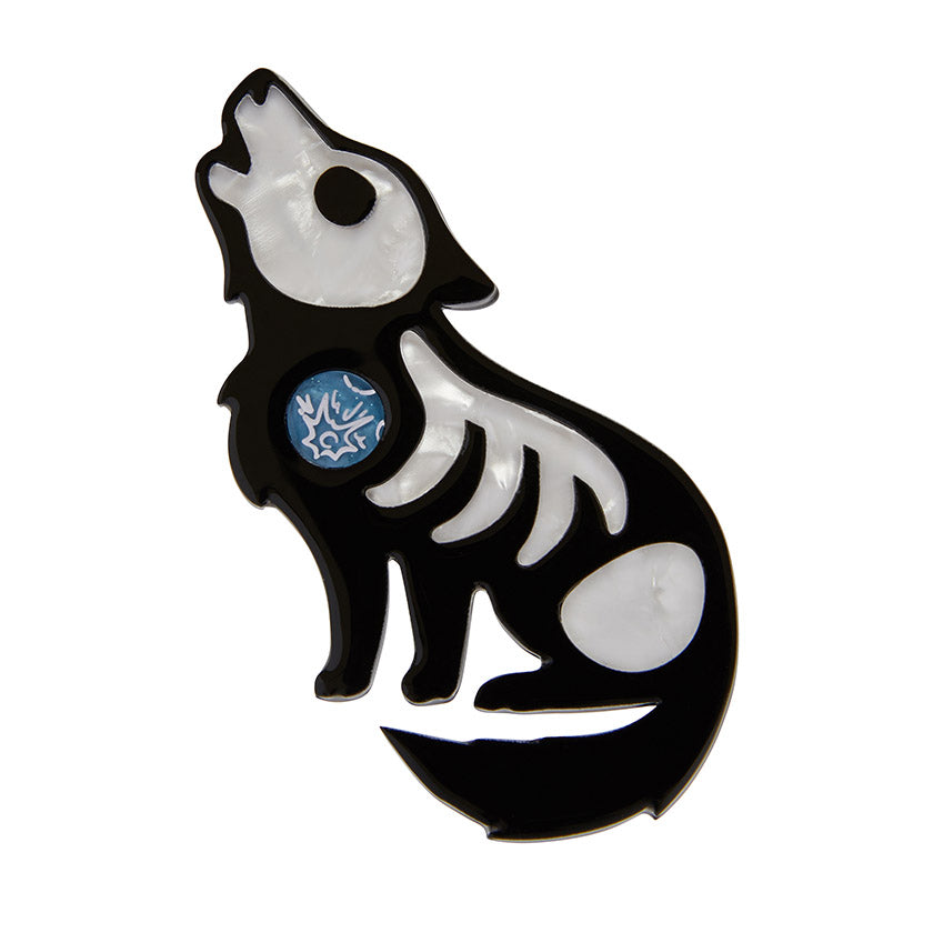 Hell Bound Howler Brooch (Erstwilder Bone Brigade Halloween 2019 Brooch) - Glitterally.co.uk