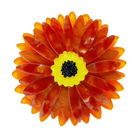 SUNSHINE OF LIFE GERBERA BROOCH (Erstwilder resin brooch) - Glitterally.co.uk