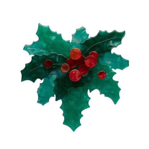 Holly Jolly Brooch (Erstwilder Resin Brooch) - Glitterally.co.uk
