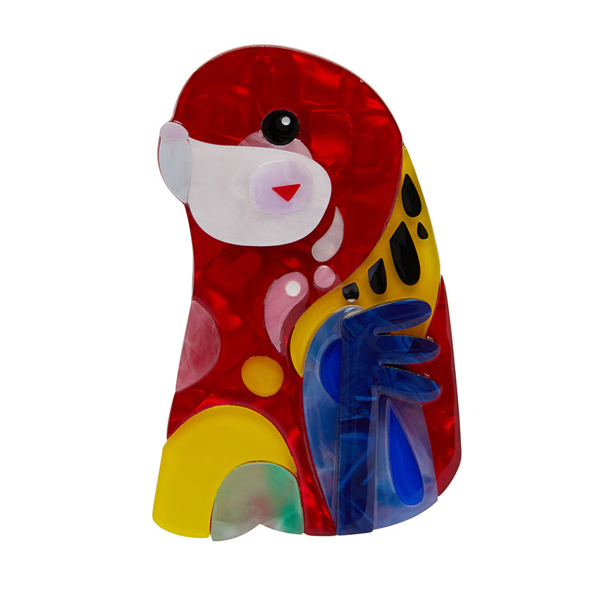 THE ROWDY ROSELLA (Erstwilder Pete Cromer resin brooch) - Glitterally.co.uk