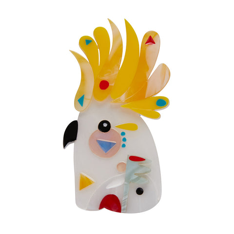 THE COMICAL COCKATOO (Erstwilder Pete Cromer resin brooch) - Glitterally.co.uk