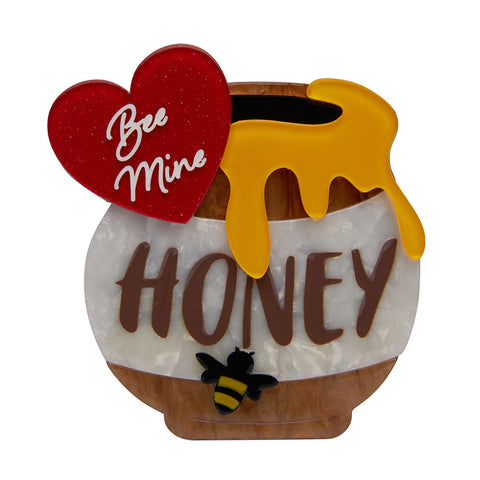 Bee Mine, Honey Brooch (Erstwilder Resin Honey Pot Brooch) - Glitterally.co.uk