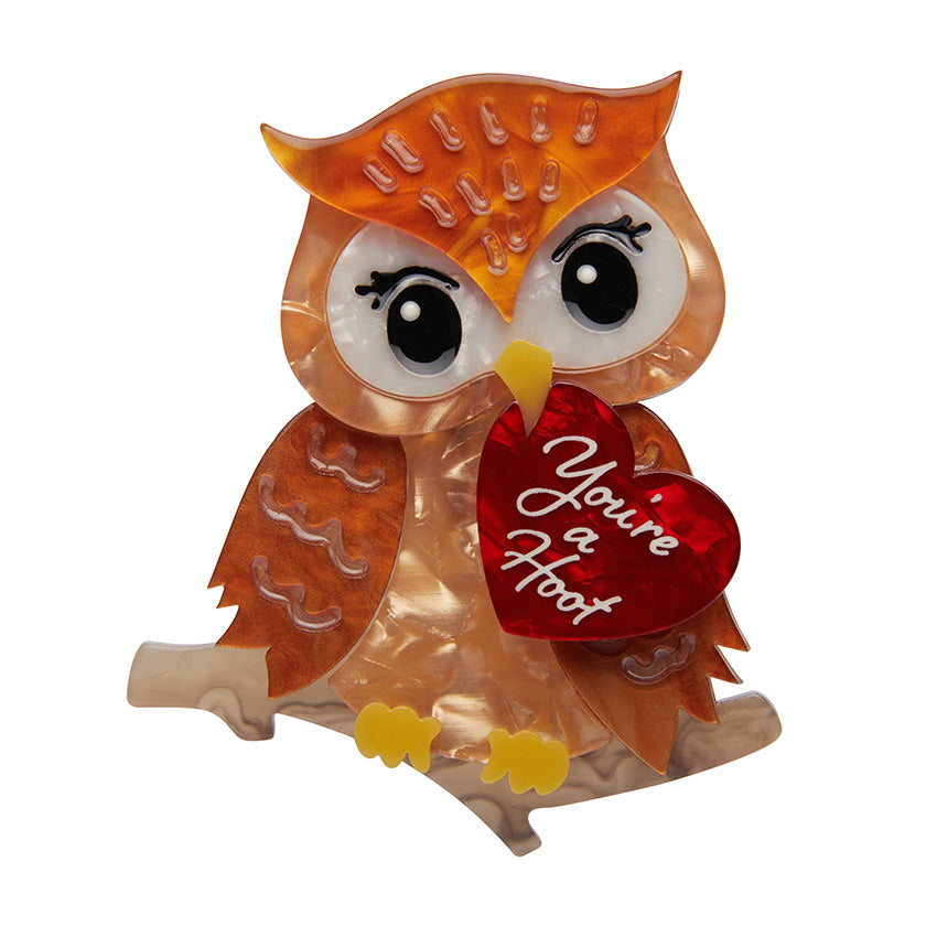 You're a Hoot Brooch (Erstwilder Resin Honey Owl Brooch) - Glitterally.co.uk