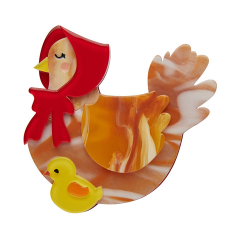 PROUD MOTHER HEN (Erstwilder Resin Hen Brooch) - Glitterally.co.uk