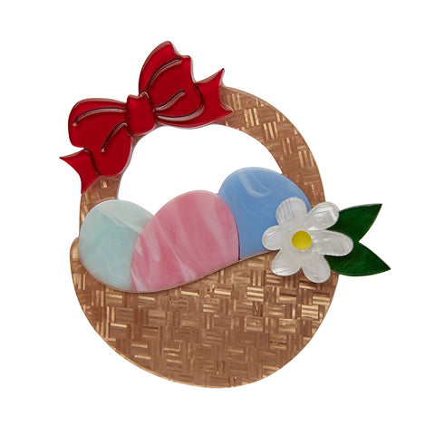 EGG HUNTER'S HAMPER (Erstwilder Resin Easter Egg Basket Brooch) - Glitterally.co.uk