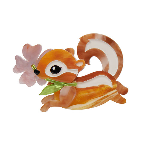 CHOCOLATE THE CHIPMUNK (Erstwilder Resin Chipmunk Brooch) - Glitterally.co.uk